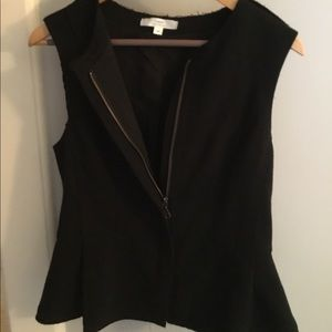 Black Zip Up Peplum Vest